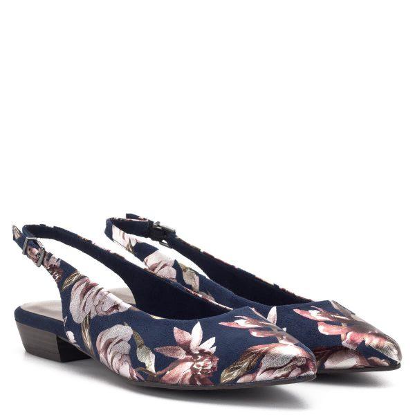 Tamaris szandálcipő sötétkék színben, virágmintával. Sarka 3,5 cm magas, orra nyújtott, sarokpántja csatos. A szandálcipő Tamaris Touch It talpbéléssel készült. A memóriahabos bélés még kényelmesebbé teszi a cipőt. Egyszínű ruhával, fehér nadrággal párosítva tökéletes viselet - Tamaris 1-29403-22 976