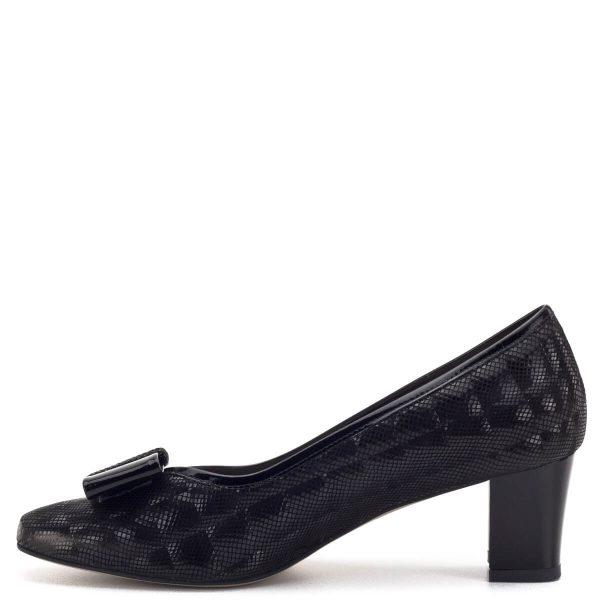 Anis cipő 5,5 cm-es sarokkal, fekete színben, masni díszítéssel. 3D mintázatú bőrből készült, bőr béléssel. Elegáns női cipő stabil sarokkal. - Anis cipő 3567 BLACK 3D