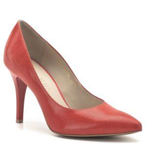 Anis cipő narancsos színben, 9 cm maga sarokkal. Klasszikus, hegyes orrú fazon, kiváló talp ívvel és sarok kialakítással. A cipő bőrből készült, bélése bőr. Felsőrésze apró mintás. - Anis cipő - Anis 4334 ARAGOSTA AVARUJA