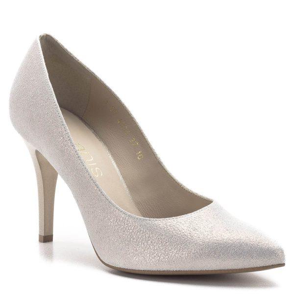 Anis cipő arany színben, 9 cm magasságú sarokkal. Klasszikus, hegyes orrú elegáns női cipő, kiváló talp ívvel és sarok kialakítással. A cipő bőrből készült, bélése bőr. - Anis 4334 PMB 65 B
