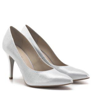 """Anis cipő ezüst színben, 9 centis sarokkal. Gyönyörű alkalmi cipő, klasszikus, hegyes orrú fazon, mely kiváló kialakításának köszönhetően a magas sarok ellenére is nagyon kényelmes. Anyaga bőr és bélése is bőrből készült. Felsőrésze apró """"rácsos"""" mintázatú, igazán különleges anyag - Anis cipő - Anis 4334 SILVER JADE"""