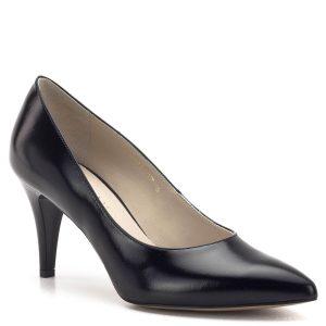 Klasszikus hegyes orrú magas sarkú Anis cipő fekete színben, 7,5 cm magas sarokkal. A cipő kívül-belül bőrből készült, a díszítéseket teljesen mellőzi. - Anis 4372 BLACK