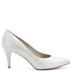 Anis cipő 7,5 cm magas sarokkal, gyöngyház hatású fehér színben, mintás bőr felsőrésszel és természetes bőr béléssel. - Anis 4372 PERLA 4