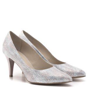 Anis cipő 7,5 cm magas sarokkal, ezüst és púder rózsaszín színkombinációban, mintás bőr felsőrésszel és természetes bőr béléssel - Anis 4372 PLAZA 7