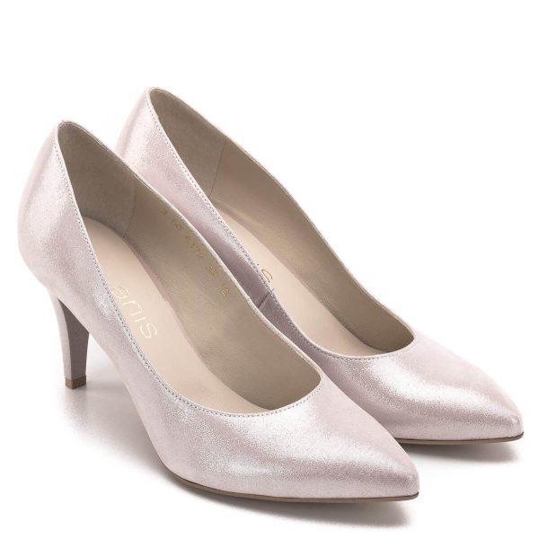 Anis cipő 7,5 cm magas sarokkal, púder rózsaszín színben. Elegáns körömcipő különleges, szaténos hatású bőr felsőrésszel és bőr béléssel. - Anis 4372 PUDER SATYNA