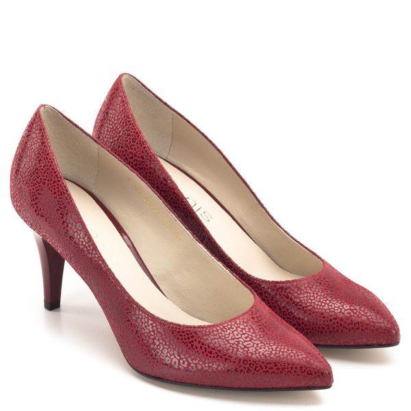 Anis cipő piros, mintás bőr felsőrésszel, 7,5 cm magas sarokkal. Elegáns piros körömcipő, sarka kényelmes, a talpív kialakításának köszönhetően hosszabb távon is hordható. - Anis 4372 RED PANTER