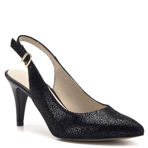 Anis szandálcipő magas sarokkal, mintás fekete bőr felsőrésszel, bőr béléssel. Kényelmes, elegáns női szandálcipő 7,5 cm-es sarokkal. Sarokpántja csattal állítható. - Anis 4403 BLACK PANTER