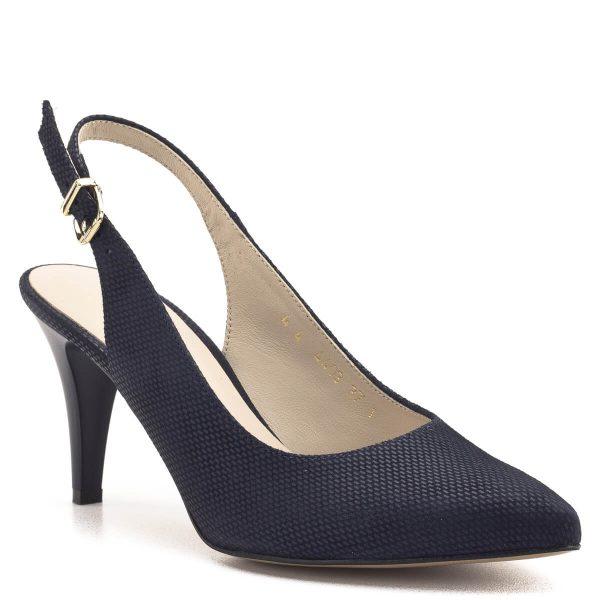 Anis szandálcipő bőrből, sarokpántján arany színű csattal. Hegyes orrú, magas sarkú alkalmi cipő sötétkék mintás bőr felsőrésszel, bőr béléssel. Kellemes sarokmagasságú, kényelmes, elegáns szandálcipő. - Anis 4403 BLUE 144 MAT 2
