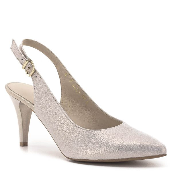 Anis szandálcipő bőrből, arany színben. Sarka 7,5 cm magas, elegáns, kényelmes magassarkú szandálcipő. Sarokpántja csattal állítható. - Anis 4403 PMB 65 B