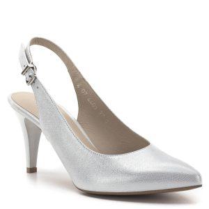 Anis szandálcipő ezüst színben, bőrből, bőr béléssel. A sarokpánt bősége csattal állítható. Hegyes orrú, magas sarkú alkalmi cipő, mely kialakításának köszönhetően hosszú távon is kényelmes. Bőre apró rácsos mintázatú, selyem hatást kölcsönöz - Anis cipő - Anis 4403 SILVER JADE