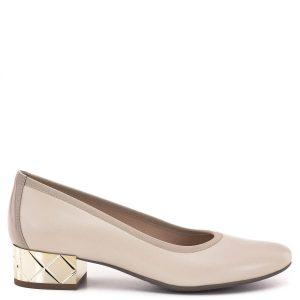 Bioeco cipő arany színű 3,5 cm-es sarokkal. A cipő alapszíne bézs, kérgén drapp színű lakk bőr betét található. Felsőrésze és bélése egyaránt bőr. Nagyon elegáns, kényelmes női cipő - Bioeco BI 5553 1399+0503