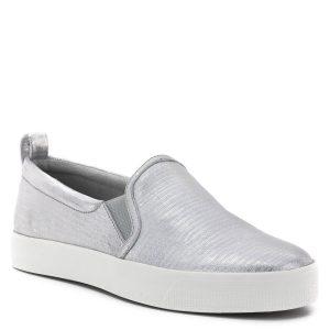 Caprice cipő fehér gumi talppal, ezüst színű bőr felsőrésszel. Kényelmes lapos női slipon két oldalán gumi toldással. - Caprice 9-24201-22 949