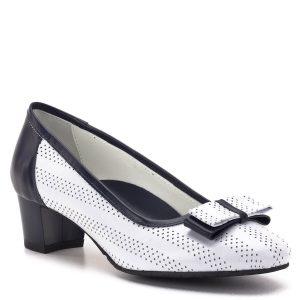 Clarette cipő kék fehér színben, elején masni dísszel. Kis sarkú alkalmi cipő puha bőrből, bőr béléssel. Lekerekített orral készült. - Clarette 563 605+B