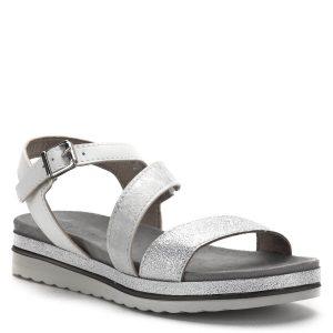 Vastag talpú Marco Tozzi szandál fehér-ezüst színben, puha talprésszel. Kényelmes, jól tartja a lábat, a Marco Tozzi 2019-es nyári kollekciójának darabja - Marco Tozzi 2-28627-22 948