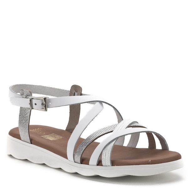 Presso szandál fehér-ezüst színben, bélése és pántjai egyaránt bőrből készültek.. A keresztpánt jól tartja a lábat, puha párnázott talpbélésének köszönhetően nagyon kényelmes szandál. - Presso 4007 BLANCO COMBI