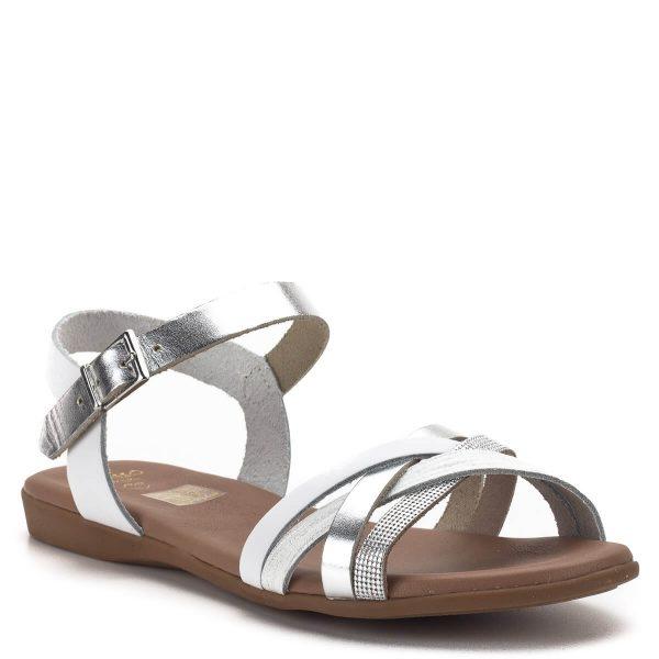 Presso szandál fehér-ezüst színben, puha párnázott bőr béléssel. Bokapántja csattal állítható, jól tartja a lábat. Könnyű nyári szandál a lapos modellek kedvelőinek. - Presso 4010 BLANCO COMBI
