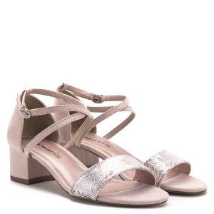 X pántos Tamaris szandál rózsaszín színben, első pántja csillogós, mintás. Sarka 4,5 cm magas, nagyon kényelmes, stabil, a Tamaris 2019-es nyári kollekciójának darabja - Tamaris 1-28237-22 504