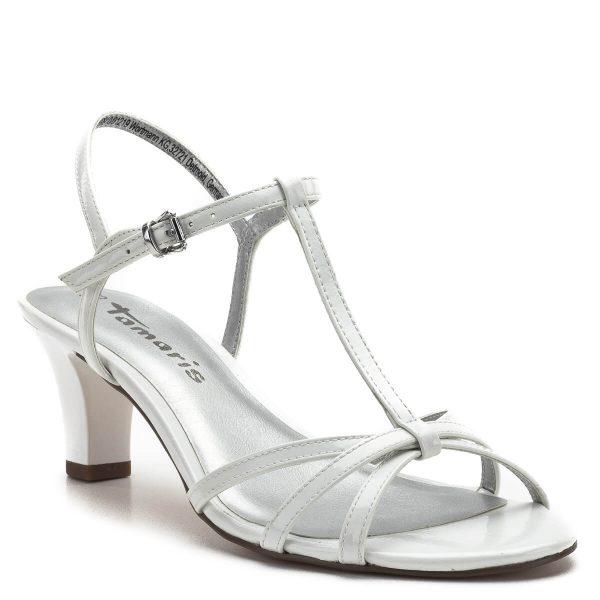 Fehér magas sarkú Tamaris szandál 6 centis sarokkal, vékony pántokkal. Kényelmes, elegáns női szandál lakk felsőrésszel, a Tamaris 2019-es nyári kollekciójának darabja - Tamaris 1-28329-22 123