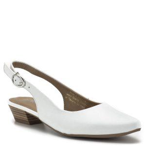 Tamaris szandálcipő fehér színben, 3,5 cm magasságú sarokkal. Kényelmes, enyhén nyújtott orrú szandálcipő bőr felsőrésszel, állítható sarokpánttal - Tamaris 1-29400-22 117