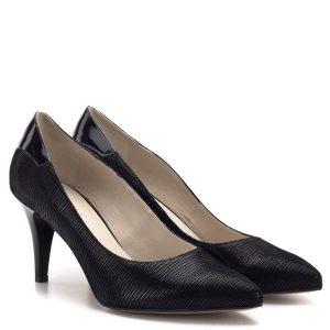 Anis cipő fekete színben, strukturált felületű bőrből, bőr béléssel. Sarka 7,5 cm magas, kérgén lakk bőr betét díszíti. Elegáns női alkalmi cipő, nagyon jó sarokállással - Anis cipő 4422 BLACK TEJUS LAK
