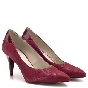 Anis cipő - Piros magassarkú Anis cipő 7,5 cm-es sarokkal, kérgén lakk betét díszíti. Bőr felsőrésszel és bőr béléssel készült. Elegáns magas sarkú női alkalmi cipő. - Anis cipő 4422 RED TEJUS LAK