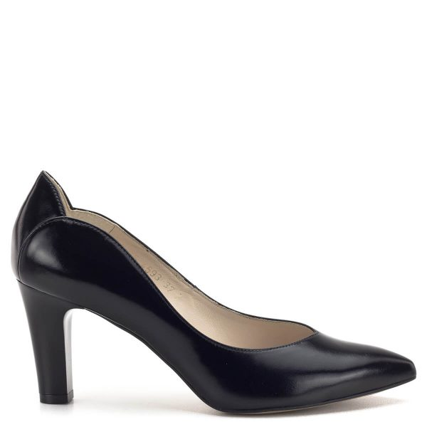 Anis cipő - Elegáns fekete magassarkú Anis cipő 7,5 cm-es sarokkal. A cipő bőrből készült, bőr béléssel. Elegáns alkalmi cipő, a vastagabb sarok nagyobb stabilitást biztosít. - Anis 4593 BLACK