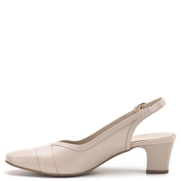 Anis szandálcipő - Elegáns női szandálcipő az Anis márka kínálatából, bézs színben. Elején rátét és arany fém díszítés található, sarka 5,5 cm magas. A szandál anyaga kívül-belül bőr, sarokpántja csattal szabályozható. - Anis 3433 ELEKTRA