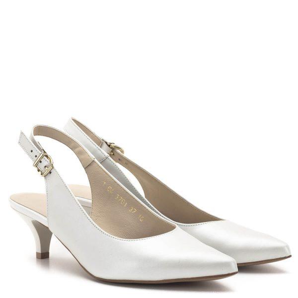 Anis szandálcipő törpe sarokkal. Gyöngyház csillogású bőrből készült, bélése bőr. Sarokpántja csatos, nagyon csinos és kényelmes alkalmi cipő. - Anis 3701 PERLA 4