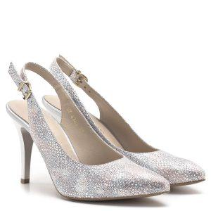 Anis szandálcipő 9 centis sarokkal, ezüst és rózsaszín színben. Különleges strukturált bőrből készült, bélése bőr. A sarokpánt jól tartja a lábat. Nagyon elegáns alkalmi szandál. - Anis 4343 PLAZA 7