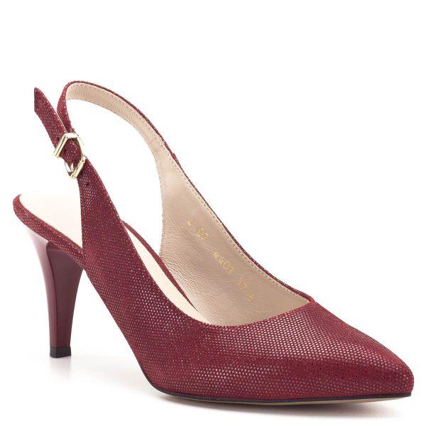 Anis szandálcipő piros színben, 7,5 cm magas sarokkal. Bélése bőr, kényelmes és elegáns női szandálcipő állítható sarokpánttal. - Anis 4403 RED PUNTINO