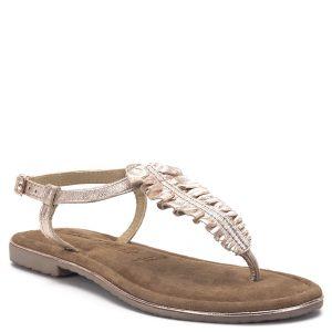 """Tamaris szandál rózsaszín metál színben, puha Touch It talpbéléssel. Pántja csatos, divatos """"lábujjas"""" fazon a Tamaris új szandál kollekciójából. - Tamaris 1-28143-22 952"""