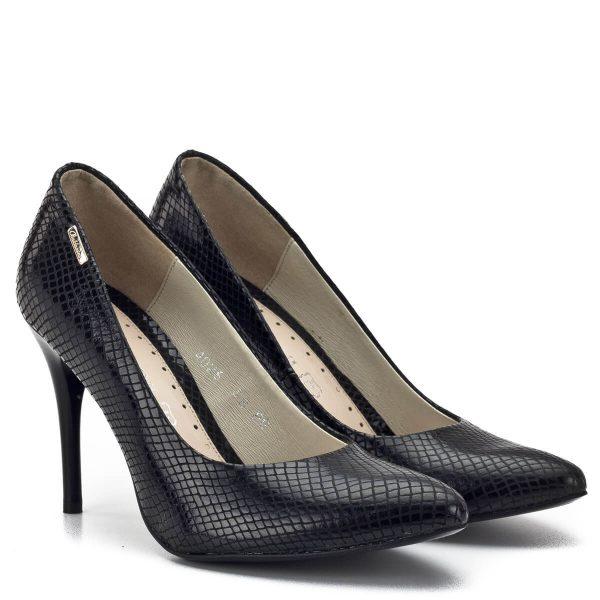 Baldaccini cipő fekete színben, kívül-belül bőrből. Felsőrésze és bélése egyaránt bőrből készült. Sarka 9 cm magas, gyönyörű bőr alkalmi cipő. - Baldaccini 402600-1 BLACK