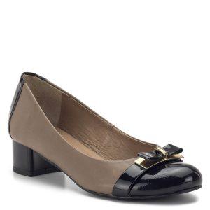 Kotyl cipő kombinált színben, orrán masni díszítéssel. A cipő kívül-belül természetes bőrből készült, 4 cm-es stabil sarka egész nap kényelmes. - Kotyl 217 CAPUCCINO BLACK