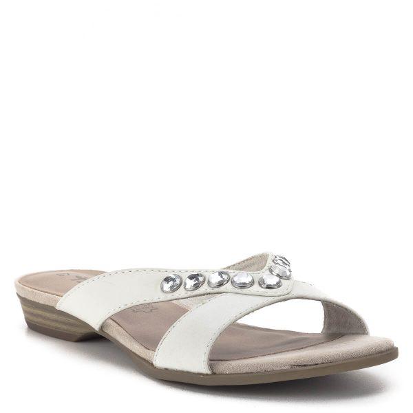 Tamaris papucs törtfehér színben, kis méretű különálló sarokkal. Felsőrészét kövek díszítik. - Tamaris 1-27104-22 100