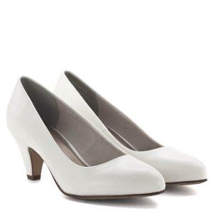 Tamaris cipő 6 centis sarokkal, fehér színben. Klasszikus, stabil sarkú női cipő puha párnázott talpbéléssel. Kényelmes sarokmagasságú, csinos női cipő hétköznapi viseletre, rendezvényre, munkahelyre - Tamaris 1-22416-23 137