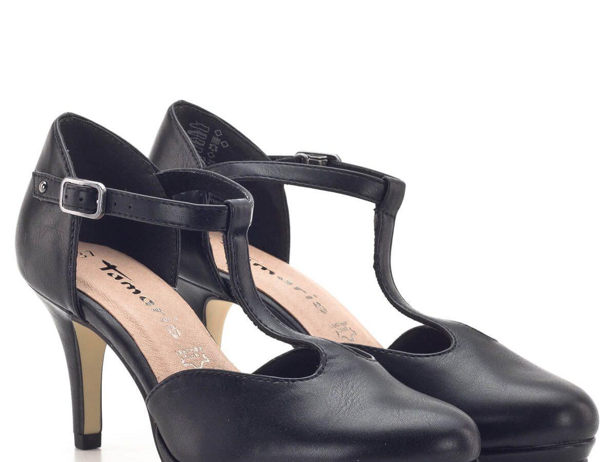 Tamaris fekete matt magassarkú cipő