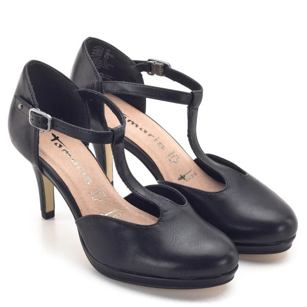 Tamaris szandálcipő matt fekete felsőrésszel. A puha talpbélésnek köszönhetően nagyon kényelmes viselet. A memóriahabos talpbélés a talp formáját rövid idő felveszi. Tökéletes cipő irodába, üzleti találkozóra és alkalmi viselethez is kiválóan párosítható. 7,5 cm magas sarka csinos, stabil. - Tamaris 1-24433-23 123