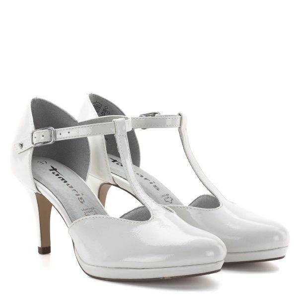 Tamaris szandálcipő, fehér lakk. Egyszerű és elegáns Tamaris modell, a lekerekített orrformának és a puha talpbélésnek köszönhetően nagyon kellemes és kényelmes viselet. A memóriahabos talpbélés igazodik a talp formájához. Tökéletes cipő irodai viseletre, üzleti találkozóra, alkalmi viselethez. - Tamaris 1-24433-23 123