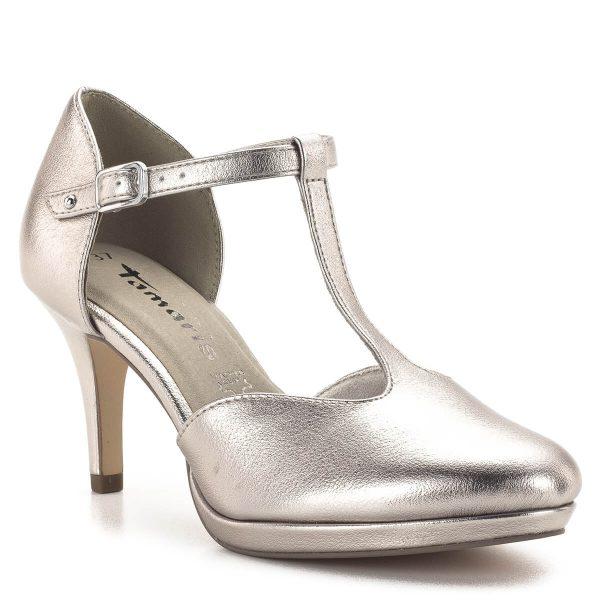 Tamaris szandálcipő pezsgő színű felsőrésszel. Elegáns kerek orrú Tamaris modell, memóriahabos talpbéléssel. Sarka 7,5 cm magas, stabil, kényelmes. A T-pántos szandál pántjai biztos tartást nyújtanak, kiemelik a láb szépségét. - Tamaris 1-24433-23 933