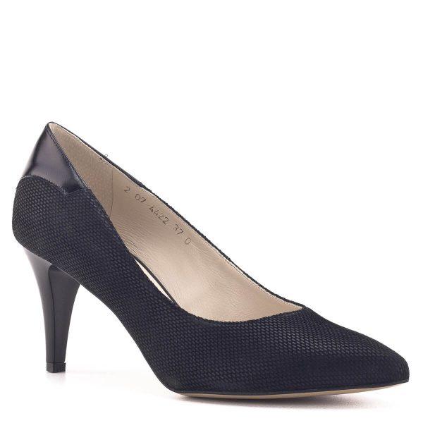 Fekete magassarkú Anis cipő strukturált bőrből, bőr béléssel