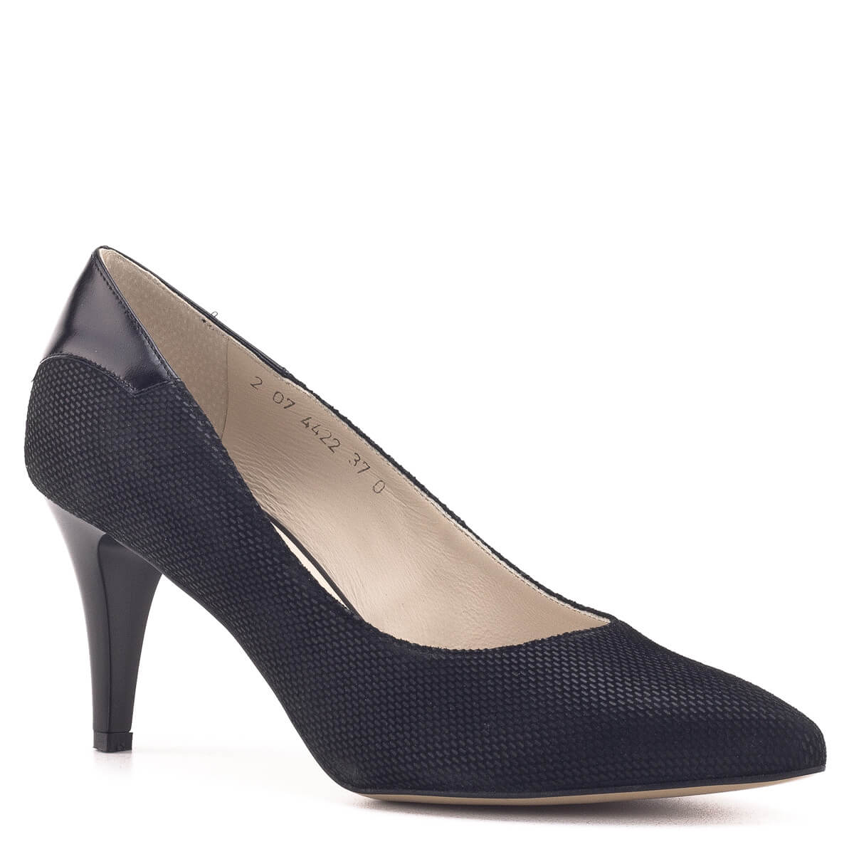 Anis női cipő. Fekete magas sarkú Anis cipő bőrből, bőr béléssel