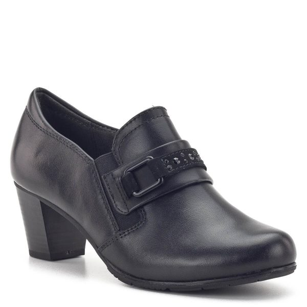 Zárt Jana cipő fekete színben, bőr felsőrésszel. Hajlékony Soft FLEX gumi talpa felel a kényelemért. Két oldalt gumi betét található a cipőben, magasabb lábfej esetén is tökéletes. Sarka 5,5 cm. - Jana 8-24403-23 001