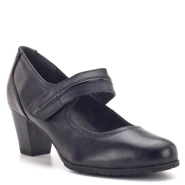 Pántos Jana cipő fekete színben, recés gumi talppal. A kerek orrú cipőben lába kényelmesen el tud helyezkedni, a tépőzáras pánt pedig garantálja, hogy sarka a helyén marad. A cipő H szélességű talppal készült - Jana 8-24404-23 001
