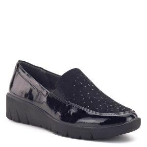 Fekete Jana cipő vastag, hajlékony gumi talppal, enyhén emelt sarokkal. A cipő széle lakk, zárt eleje textil felső, melyet apró fekete kövecskék díszítenek. A kivehető Jana Relax talpbélés 100%-os kényelmet nyújt. A H szélességű talp és a kerek orr a biztosítja a láb kényelmes elhelyezkedését. A Jana Relax cipőben garantált az egész napos kényelem és a tökéletes megjelenés.