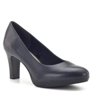Magassarkú Tamaris bőr cipő kék színben. Sarka 7,5 cm magas. Az ANTIshokk-os sarok és a puha talpbélés garantálja a kényelmet - Tamaris 1-22410-23 805