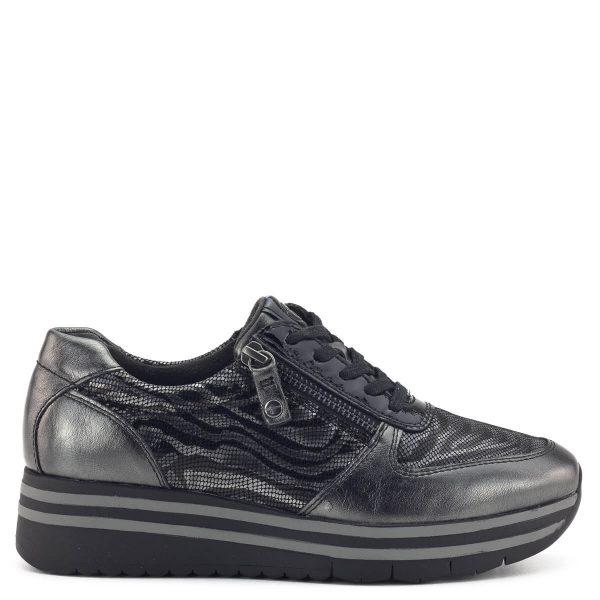Tamaris sneakers cipő mintás bőr felsőrésszel, fűzős