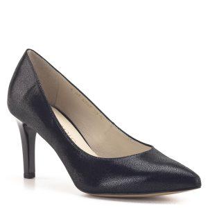 Elegáns fekete Anis cipő 7,5 cm magasságú sarokkal, kívül-belül bőrből