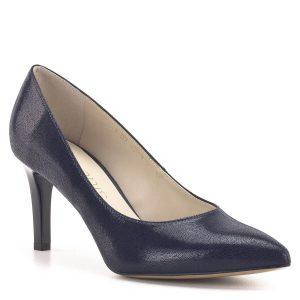 Anis cipő sötétkék színben, 7,5 cm magas sarokkal, kívül-belül bőrből
