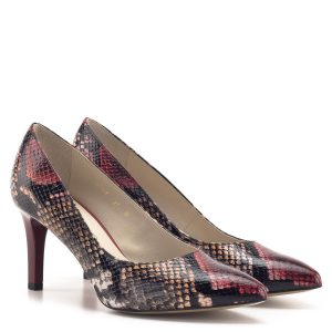 Kígyómintás Anis cipő bordó színben, 7,5 cm magas sarokkal