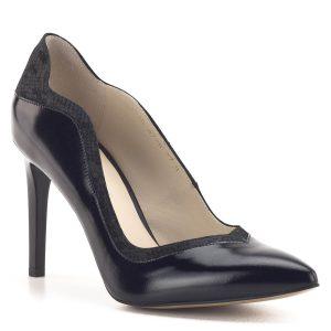 Fekete Anis cipő 9 cm magas sarokkal. Elegáns magassarkú bőr cipő